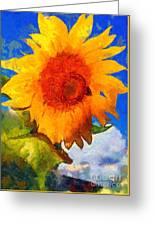 Sunflower - Bee Happy Greeting Card