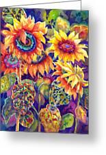 Sunflower Garden Greeting Card by Ann  Nicholson