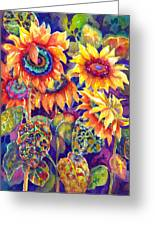 Sunflower Garden Greeting Card by Ann  Nicholson
