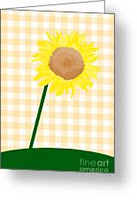 Sunflower On Yellow Plaid Greeting Card