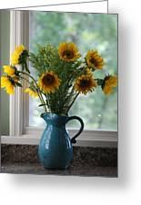 Sunflower Window Greeting Card by Paula Rountree Bischoff