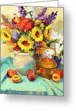 Sunflowers And Copper Greeting Card