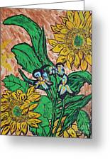 Sunflowers And Irises Greeting Card