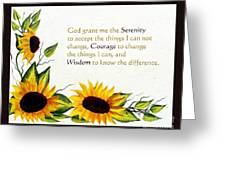 Sunflowers And Serenity Prayer Greeting Card by Barbara Griffin