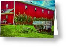 Sunflowers Beside A Big Red Barn Greeting Card