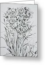 Sunflowers Black And White Greeting Card