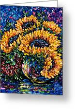 Sunflowers Bouquet In Vase Greeting Card