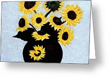 Sunflowers Expressive Brushstrokes Greeting Card