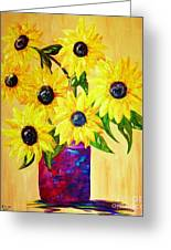 Sunflowers In A Red Pot Greeting Card