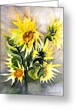 Sunflowers In Abstract Greeting Card