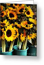 Sunflowers In Blue Bowls Greeting Card