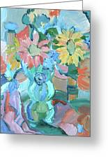 Sunflowers In Blue Vase Greeting Card by Brenda Ruark