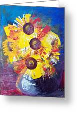 Sunflowers In Blue Vase Greeting Card