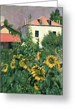 Sunflowers In The Garden At Petit Gennevilliers  Greeting Card