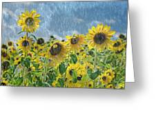 Sunflowers In The Rain Greeting Card