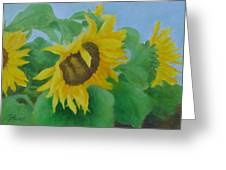 Sunflowers In The Wind Colorful Original Sunflower Art Oil Painting Artist K Joann Russell           Greeting Card