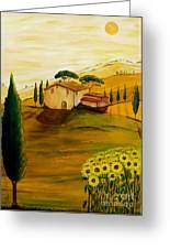 Sunflowers In Tuscany Greeting Card