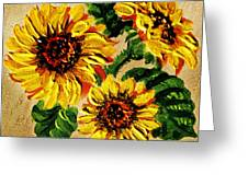 Sunflowers On Wooden Board Greeting Card