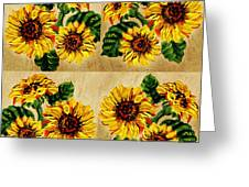 Sunflowers Pattern Country Field On Wooden Board Greeting Card
