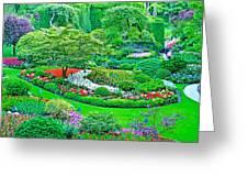 Sunken Garden In Butchart Gardens Near Victoria-british Columbia Greeting Card