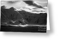 sunlight breaking through clouds on snow covered landscape of anvers island and neumayer channel Ant Greeting Card