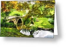 Sunlit Bridge In Park Greeting Card