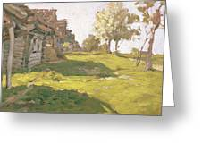 Sunlit Day  A Small Village Greeting Card