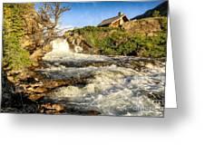 Sunlit Rapids In Glacier Greeting Card