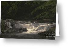 Early Morning Sunlit Waterfall Greeting Card