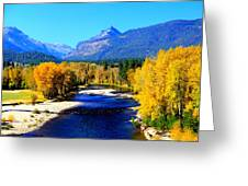 Sunny Autumn Day On A Montana River Greeting Card