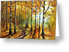 Sunny Birches - Palette Knife Oil Painting On Canvas By Leonid Afremov Greeting Card