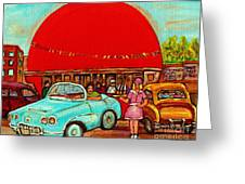 Sunny Day At The Big Orange Julep  Montreal Road Side Diner Carole Spandau Greeting Card