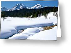 Sunny January Day Sawtooth Mountains Greeting Card