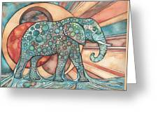 Sunphant Sun Elephant Greeting Card by Tamara Phillips