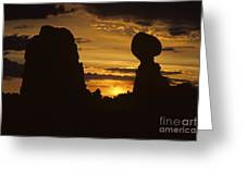 Sunrise Arches National Park With Balanced Rock Silhouetted Agai Greeting Card
