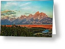 Sunrise At Grand Tetons Greeting Card