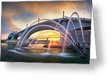 Sunrise At John Ross Landing Fountain Greeting Card by Steven Llorca