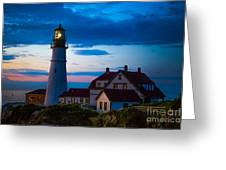 Sunrise At Portland Head Lighthouse Greeting Card by Diane Diederich