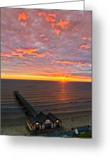 Sunrise At Saltburn Pier And Seafront Portrait Greeting Card