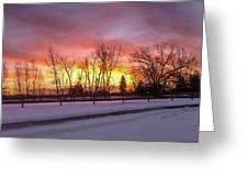 Sunrise At The Barn Greeting Card