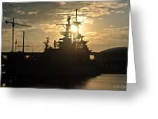 Sunrise At The Naval Base Silhouette Erie Basin Marina V1 Greeting Card