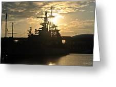 Sunrise At The Naval Base Silhouette Erie Basin Marina V3 Greeting Card