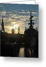 Sunrise At The Naval Base Silhouette Erie Basin Marina V5 Greeting Card