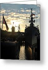 Sunrise At The Naval Base Silhouette Erie Basin Marina V6 Greeting Card
