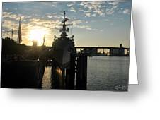 Sunrise At The Naval Base Silhouette Erie Basin Marina V7 Greeting Card