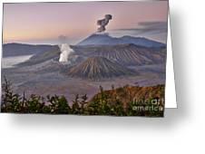 sunrise at vulcano Bromo with sea of sand vulcano Semeru with eruption Java Indonesia Greeting Card