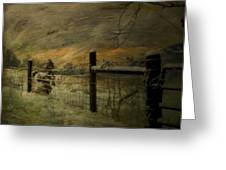 Sunrise Behind The Fence Greeting Card by Kathy Jennings