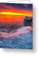 Sunrise Chicago Lake Michigan 1-30-14 Greeting Card