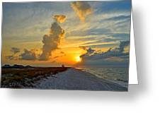 Sunrise Colors Over Navarre Beach With Stormclouds Greeting Card