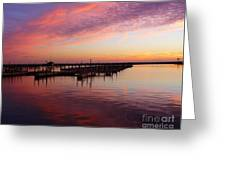 Sunrise Dock Over Lake Huron Greeting Card